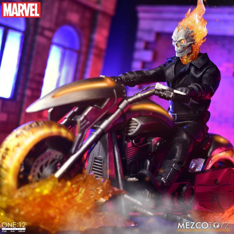 Pre-Order Mezco 1:12 Marvel Ghost Rider & Hell Cycle Figure Set