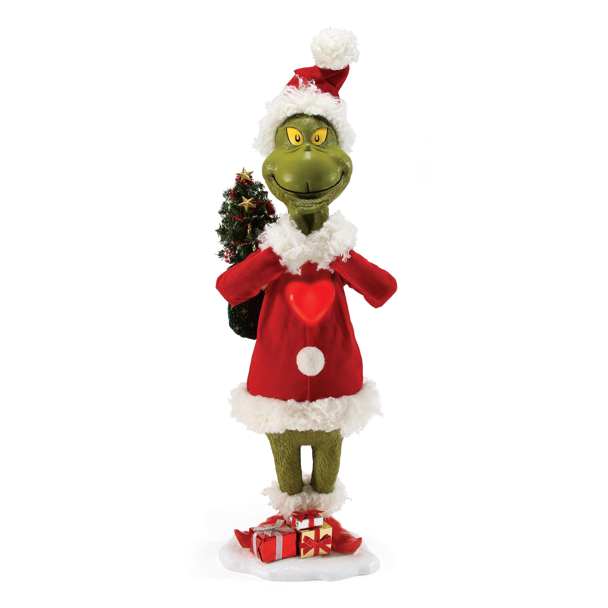 "Possible Dreams Grinch Santa Light Up 30"" Figurine"