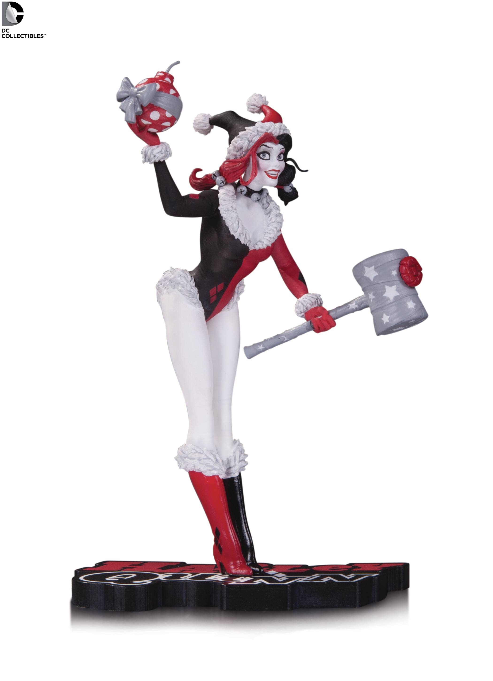 DC Comics Red White Black Harley Quinn Holiday Statue