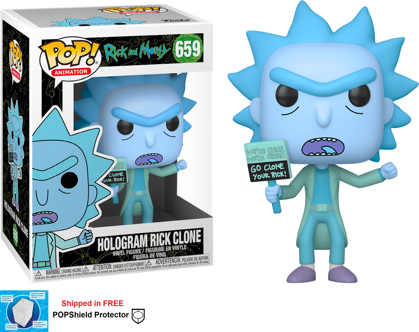 Funko POP Animation Rick and Morty Hologram Rick Clone #659