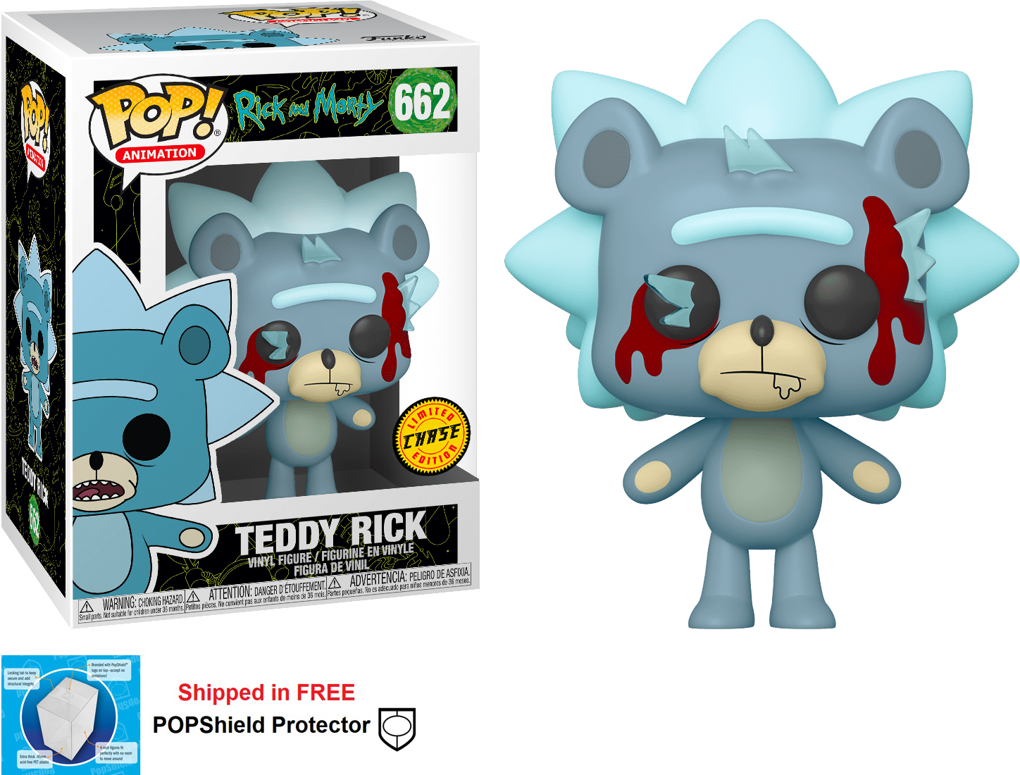 Funko POP Animation Rick and Morty Teddy Rick Figure #662 Chase